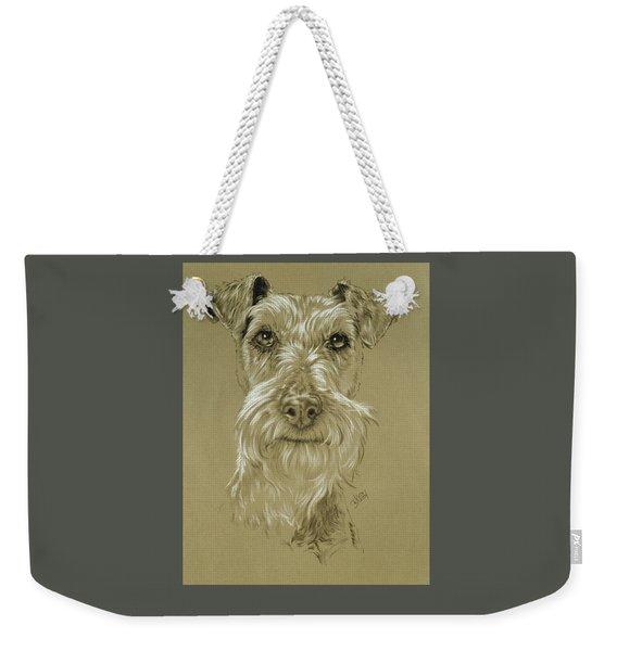 Weekender Tote Bag featuring the drawing Irish Terrier by Barbara Keith