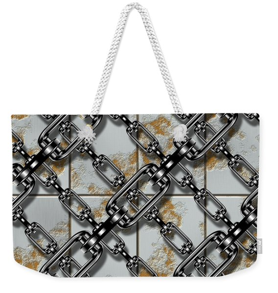 Iron Chains With Rusty Metal Panels Seamless Texture Weekender Tote Bag