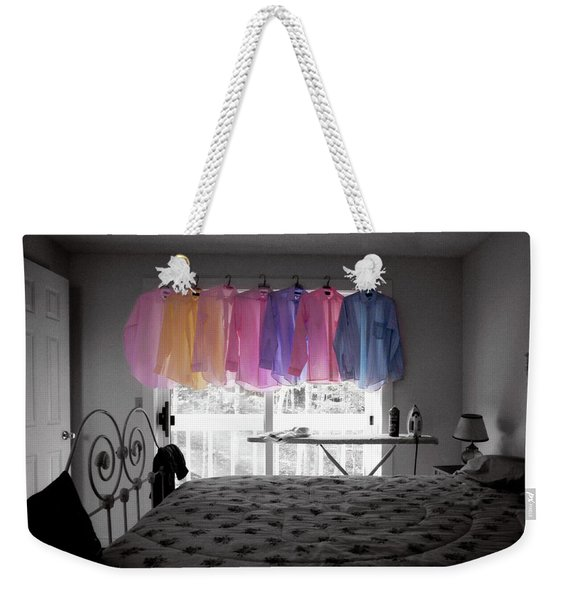 Weekender Tote Bag featuring the photograph Ironing Adds Color To A Room by Wayne King