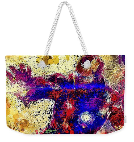 Weekender Tote Bag featuring the mixed media Ironman  by Al Matra