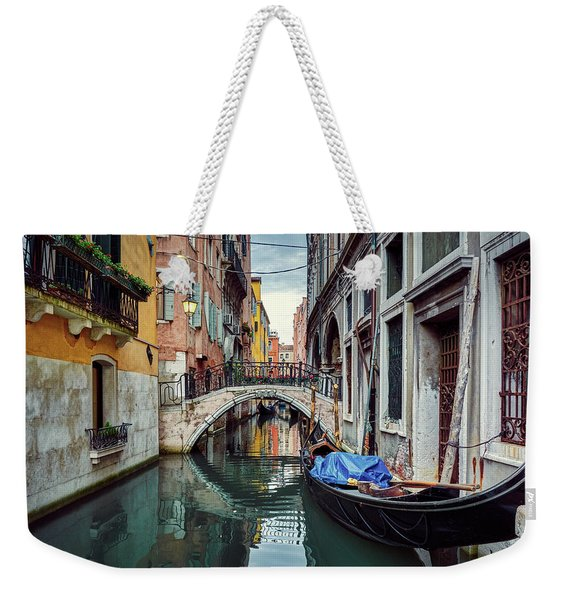Gondola Parked On Lonely Water Canal In Venice, Italy Weekender Tote Bag