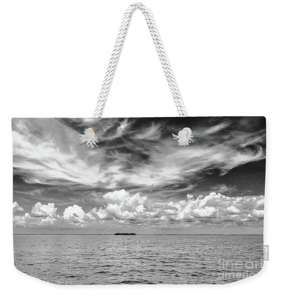 Island, Clouds, Sky, Water Weekender Tote Bag