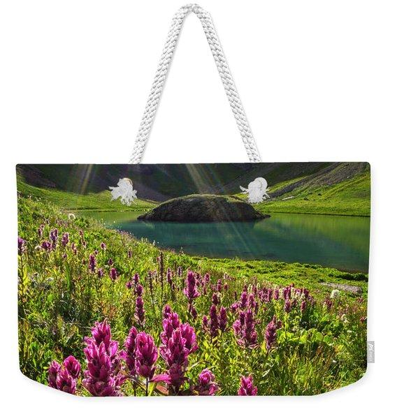 Island Lake Flowers Weekender Tote Bag