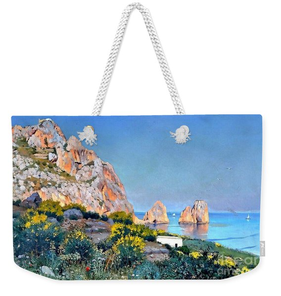 Weekender Tote Bag featuring the painting Island Of Capri - Gulf Of Naples by Rosario Piazza