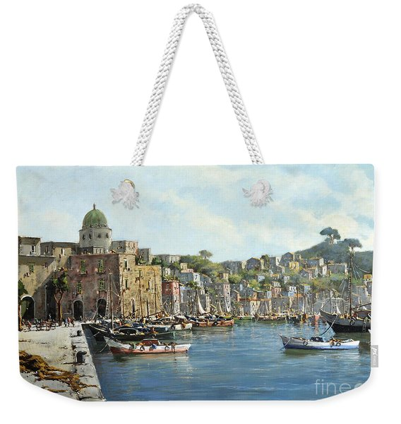 Weekender Tote Bag featuring the painting Island Of Procida - Italy- Harbor With Boats by Rosario Piazza