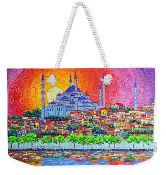 Istanbul Blue Mosque Sunset Modern Impressionist Palette Knife Oil Painting By Ana Maria Edulescu    Weekender Tote Bag