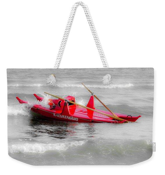 Italian Life Guard Boat Weekender Tote Bag