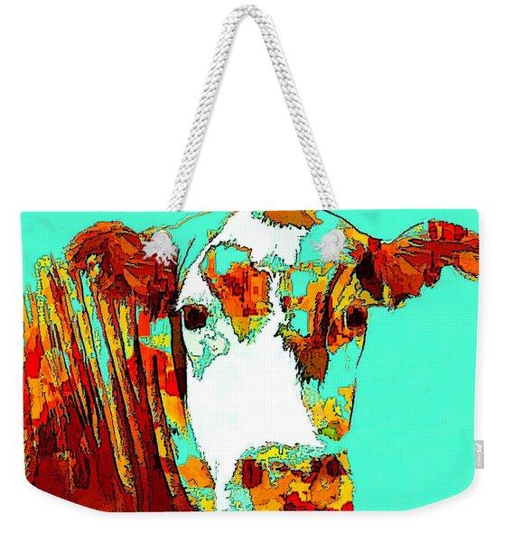 Turquoise Cow Weekender Tote Bag
