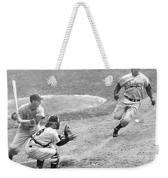 Jackie Robinson Stealing Home Yogi Berra Catcher In 1st Game 1955 World Series Weekender Tote Bag
