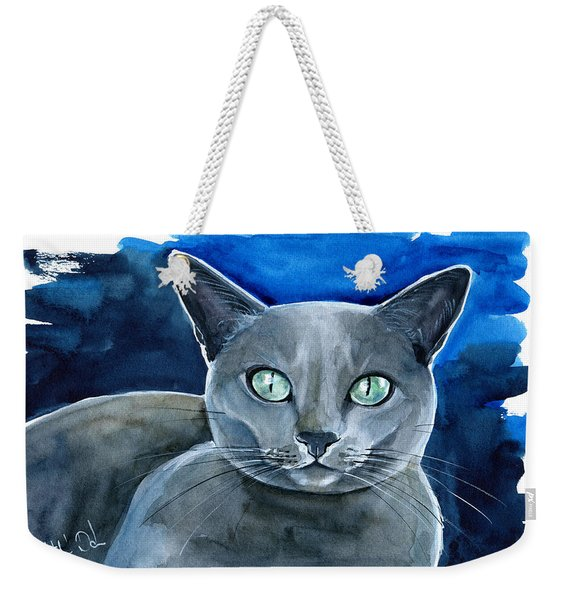 Jackpot - Russian Blue Cat Painting Weekender Tote Bag