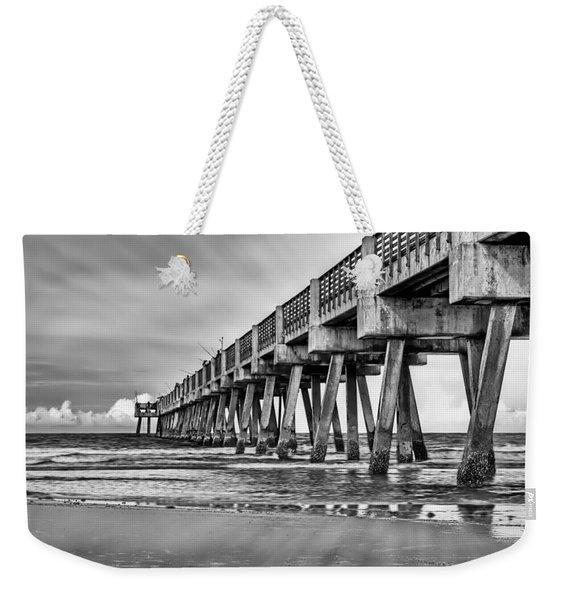 Jacksonville Beach Pier In Black And White Weekender Tote Bag
