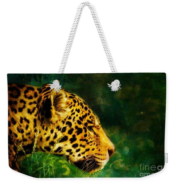 Jaguar In The Grass Weekender Tote Bag