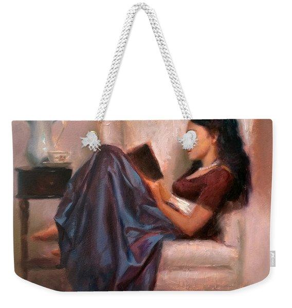 Jaidyn Reading A Book 2 - Portrait Of Woman Weekender Tote Bag