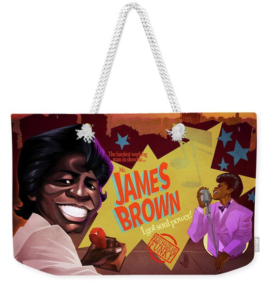Weekender Tote Bag featuring the drawing James Brown by Nelson Dedos Garcia