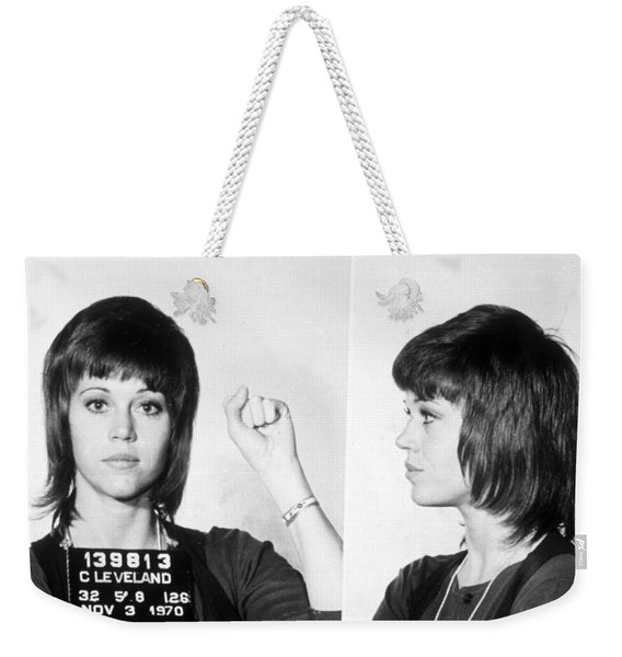Jane Fonda Mug Shot Horizontal Weekender Tote Bag