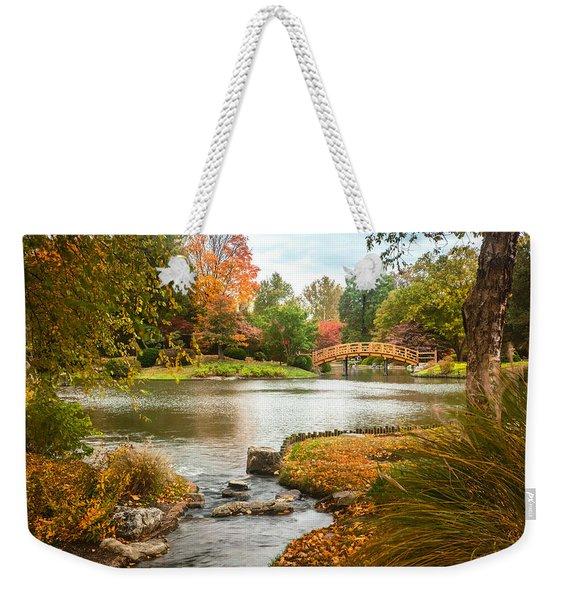 Japanese Garden Bridge Fall Weekender Tote Bag