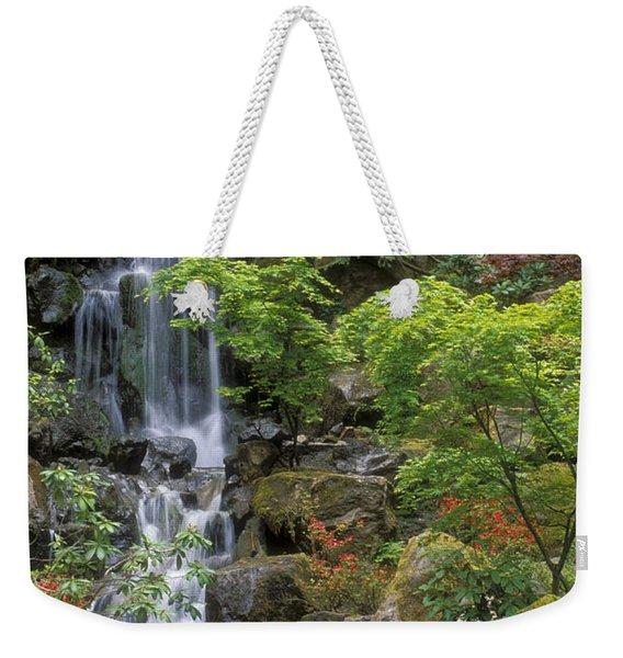 Japanese Garden Waterfall Weekender Tote Bag