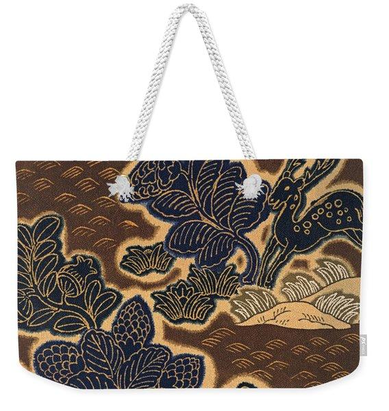 Japanese Style Deer Stag And Flowers Modern Interior Art Painting. Weekender Tote Bag