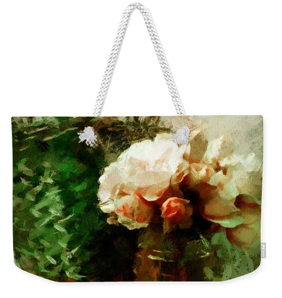 Weekender Tote Bag featuring the mixed media Jar Of Roses With Lavender by Patricia Strand