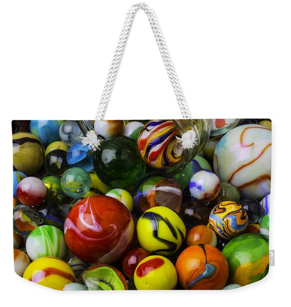 Jar Pouring Out Glass Marbles Weekender Tote Bag