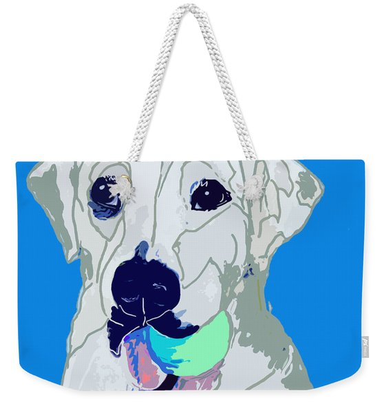 Jax With Ball In Blue Weekender Tote Bag