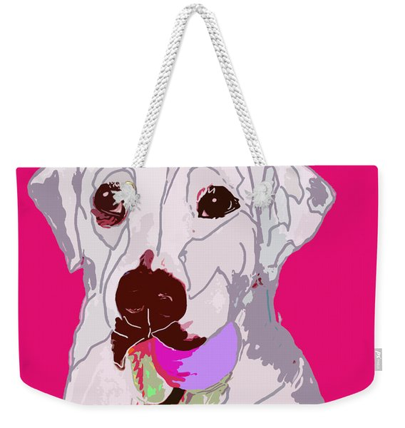 Jax With Ball In Pink Weekender Tote Bag