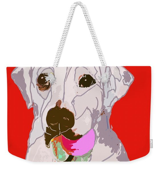 Jax With Ball In Red Weekender Tote Bag