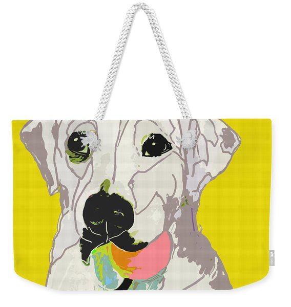 Jax With Ball In Yellow Weekender Tote Bag