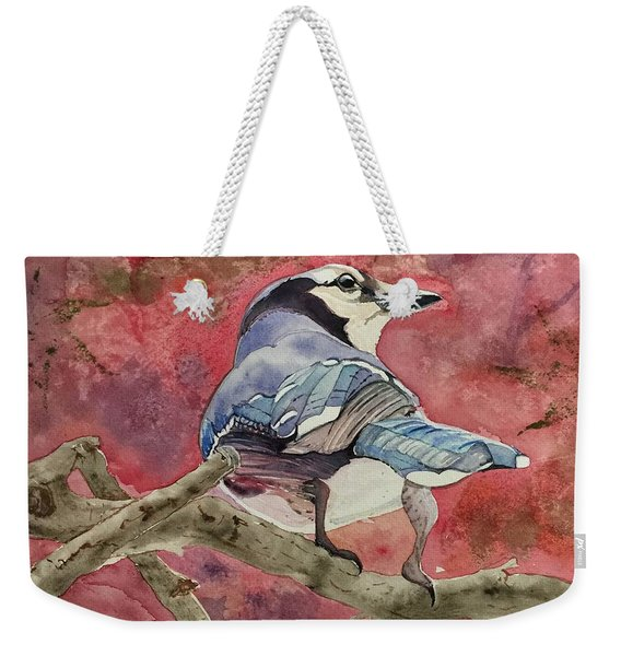 Jay In The Japanese Maple Weekender Tote Bag