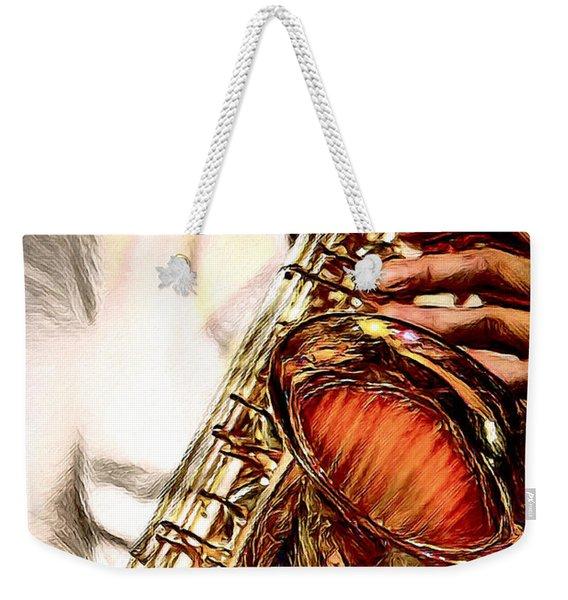 Jazzy Sax Weekender Tote Bag
