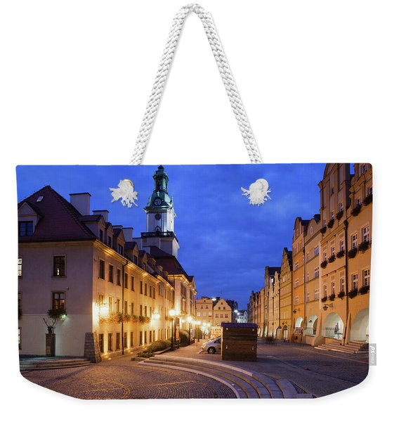 Jelenia Gora Old Town By Night In Poland Weekender Tote Bag