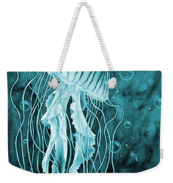Jellyfish On Blue Weekender Tote Bag