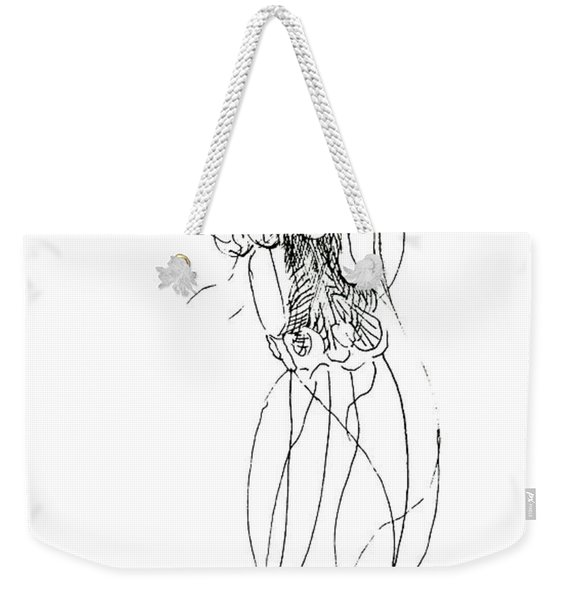 Jellyfish Sketch - Black And White Nautical Theme Decor Weekender Tote Bag