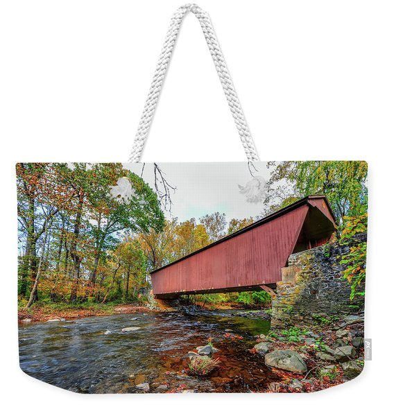 Jericho Covered Bridge In Maryland During Autumn Weekender Tote Bag