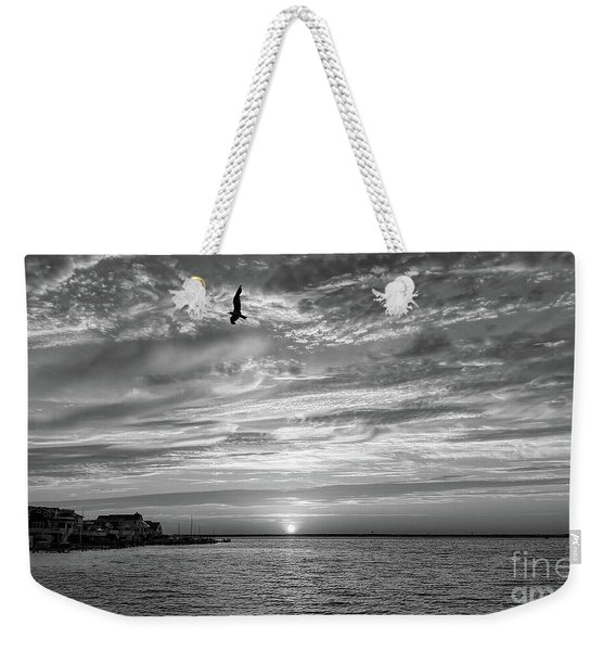 Jersey Shore Sunset In Black And White Weekender Tote Bag