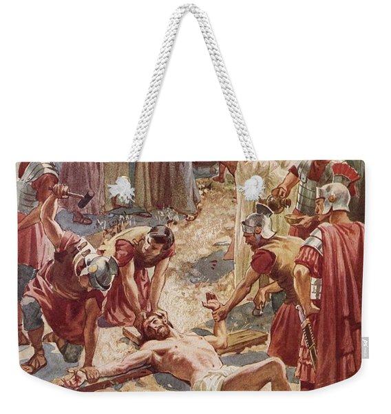 Jesus Being Crucified Weekender Tote Bag
