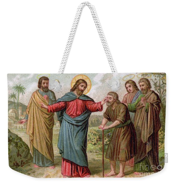 Jesus Christ Heals The Blind Man Weekender Tote Bag