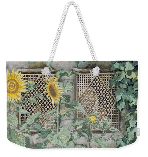 Jesus Looking Through A Lattice With Sunflowers Weekender Tote Bag
