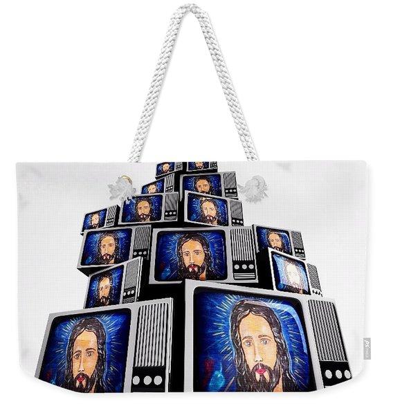Jesus On Tv Weekender Tote Bag