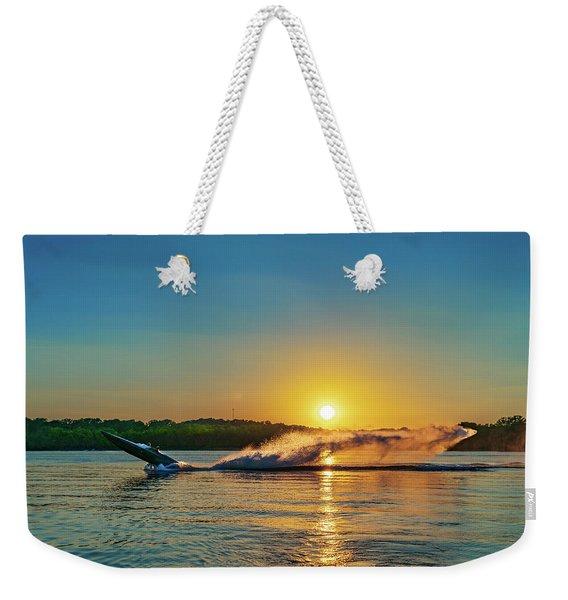 Jet Boat Wheelie  Weekender Tote Bag