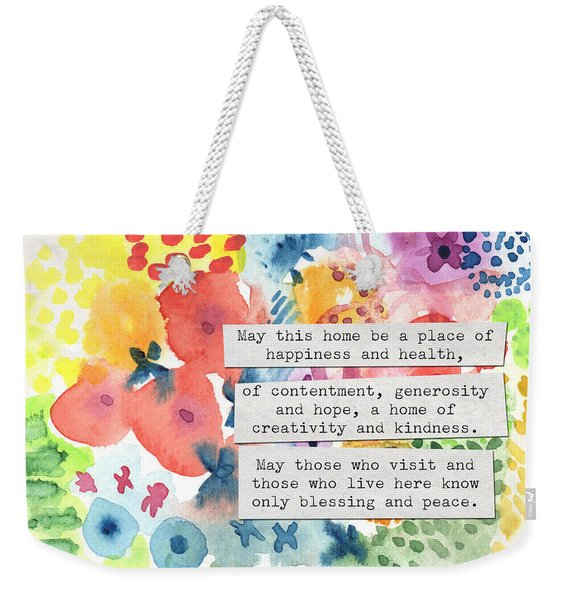 Jewish Home Blessing- Floral Watercolor Weekender Tote Bag