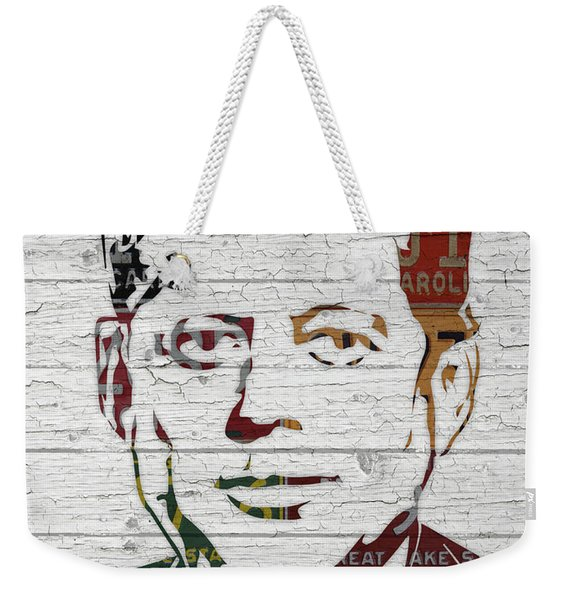 Jfk Portrait Made Using Vintage License Plates From The 1960s Weekender Tote Bag