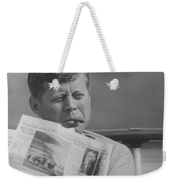 Jfk Relaxing Outside Weekender Tote Bag