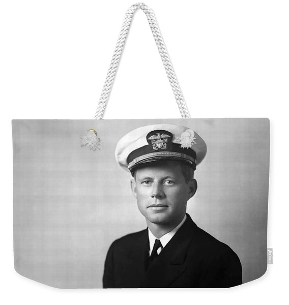 Jfk Wearing His Navy Uniform Painting Weekender Tote Bag