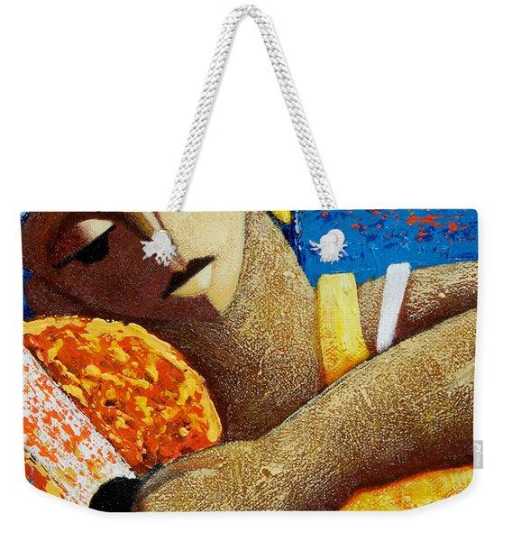 Weekender Tote Bag featuring the painting Jibara Y Sol by Oscar Ortiz