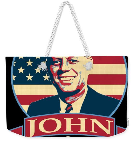John F Kennedy American Banner Pop Art Weekender Tote Bag