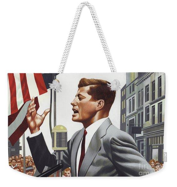 John F Kennedy Speaking. Weekender Tote Bag