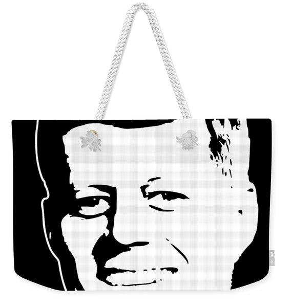 John F Kennedy White On Black Pop Art Weekender Tote Bag