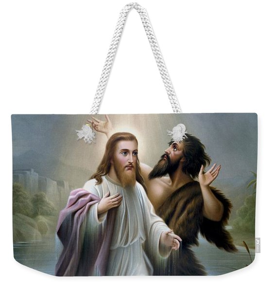 John The Baptist Baptizes Jesus Christ Weekender Tote Bag