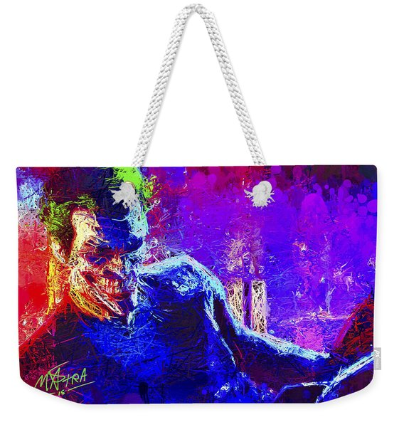 Weekender Tote Bag featuring the mixed media Joker's Grin by Al Matra